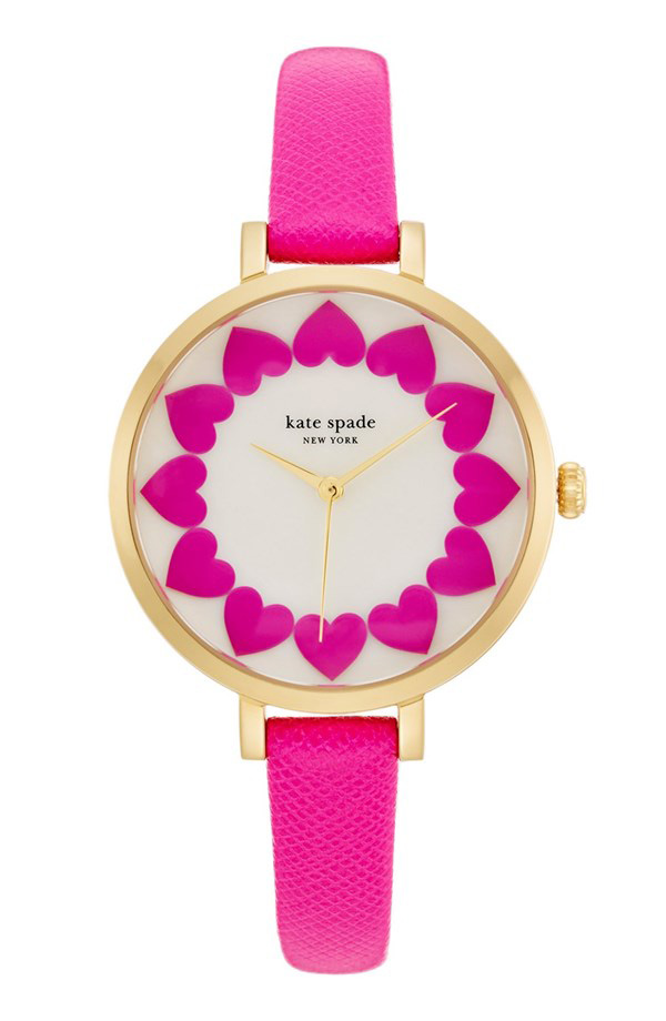 Kate Spade Metro Heart Dial Leather Strap Watch