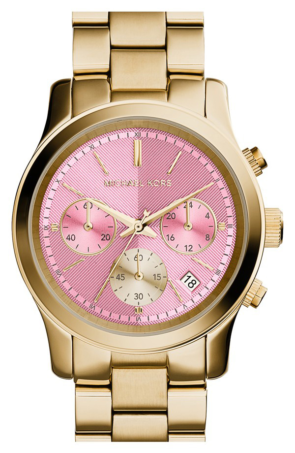 MICHAEL Michael Kors Runway Chronograph Watch in Gold/Light Pink
