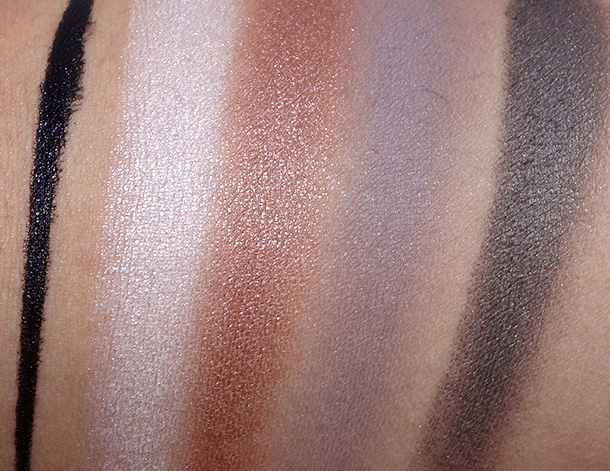 Make Up For Ever Fifty Shades of Grey Swatches from the left: Graphic Eye Liner, Eyeshadows in I-514, ME-612, S-556 and I-628