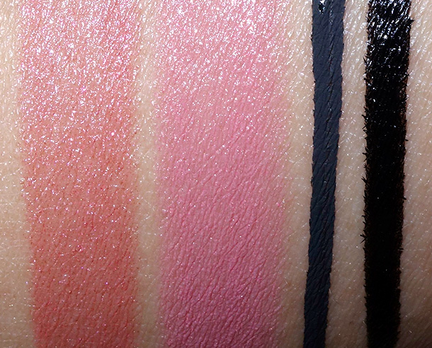 Make Up For Ever Spring 2015 swatches from the left: 53, 54, Ink Liner and Graphic LIner