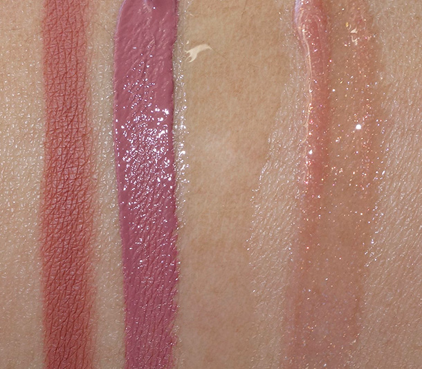 Make Up For Ever Tease Me Nude Lip Trio Swatches from the left: Aqua Lip Pencil in 3C, Aqua Rouge Waterproof Lip Color in 3, Aqua Rouge Clear, Lab Shine Diamond Collection Lip Gloss in D16