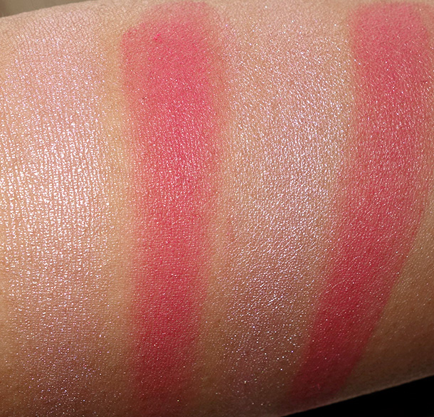 NARS Dual-Intensity Blush in Adoration dry (left) and wet (right)