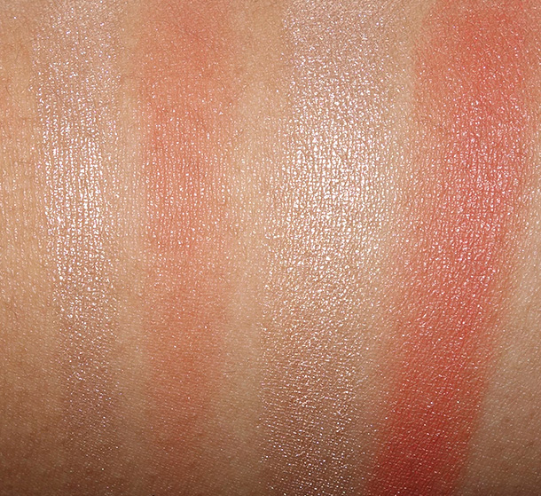 NARS Dual-Intensity Blush in Frenzy dry (left) and wet (right)
