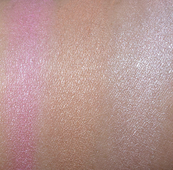 Swatches from the left: Physicians Formula Argan Wear Blush, Argan Wear Bronzer and Nude Wear Touch of Glow