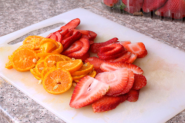 Strawberry and Orange Infused Water step 2