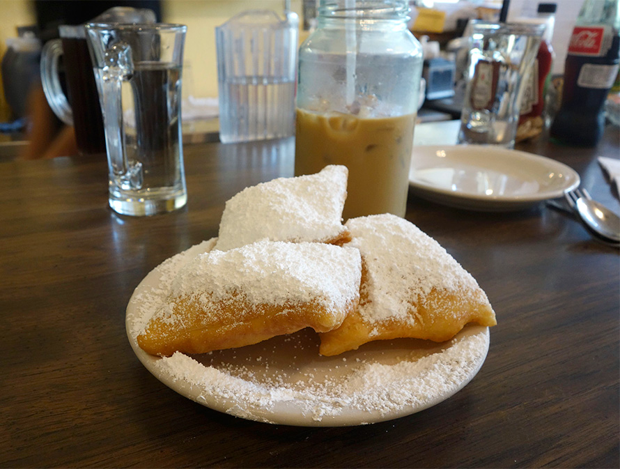 Beignets and iced coffee