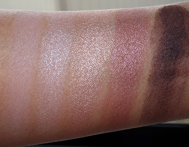 MAC Cool Neutral palette top row: Flounce, Sweet Allure, Sun Tweaked After Dusk and Blackberry