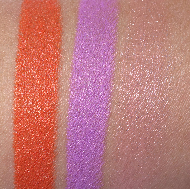 MAC Bao Ban Wan Lipsticks from the left: Forbidden Sunrise, Lavender Jade and Romantic Breakdown