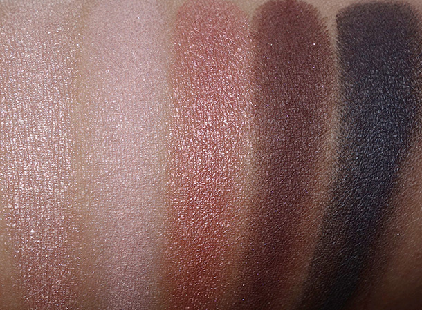 MAC Warm Neutral Palette Swatches from the left: Hey, Warm Breeze, Gingershap, Dark Brew and Dance in the Dark