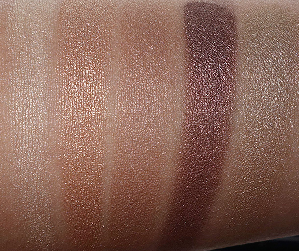MAC Warm Neutral palette bottom row: Lemon Tart, Creative Copper, Butterfudge, Divine Decadence and Unwind