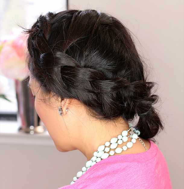 Messy reverse French braid