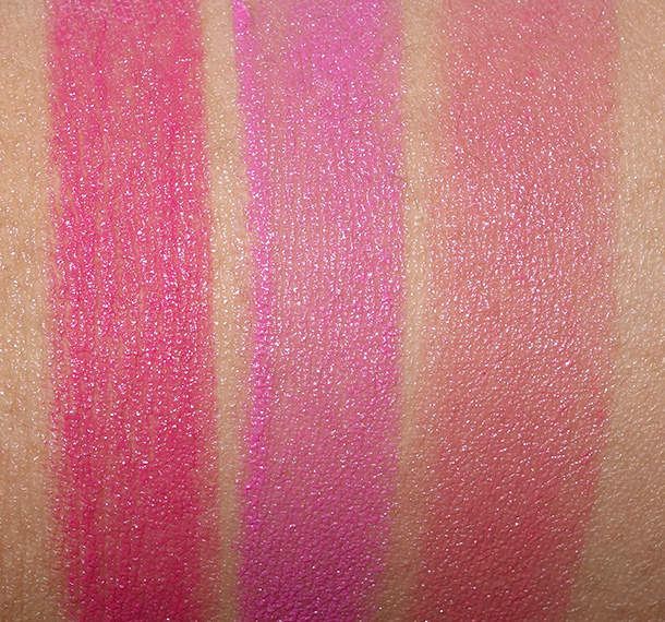 Revlon Ultra HD Lipstick Swatches From the left: Azalea, Sweet Pea and Rose
