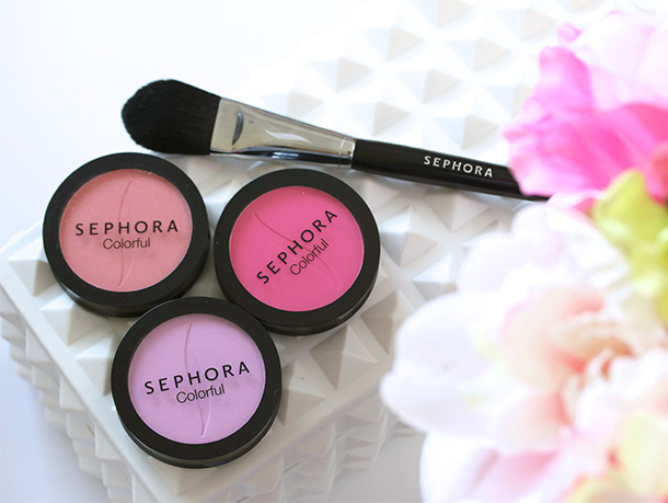 Sephora Collection Colorful Blush in Over the Moon No 14, Colorful Blush in First It UP No 06, PRO Brush in 73 and Colorful Blush in Im Shocked No 09