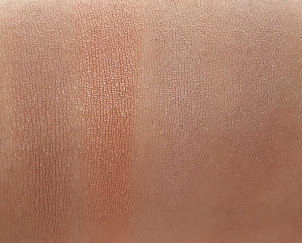 The Little Black Book of Bronzers Bronzer Collection swatches from the left: Endless Summer, Sun Bunny, Milk Chocolate Soleil and Chocoalte Soleil