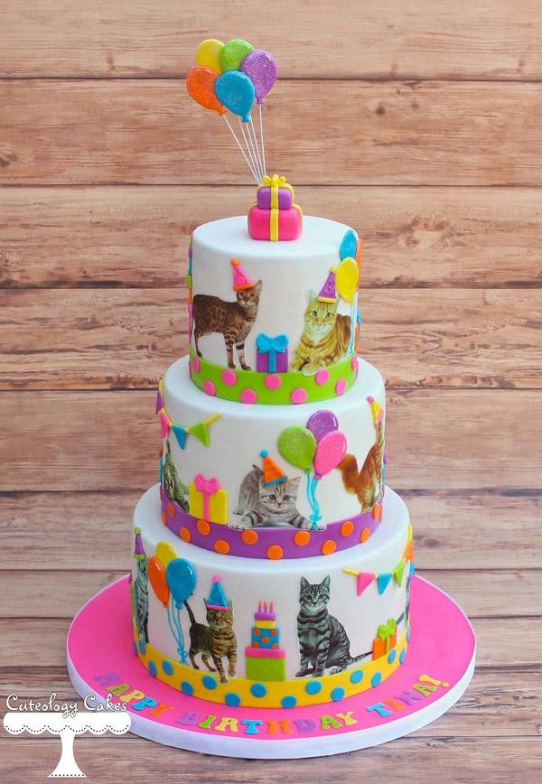 neon kitten cake