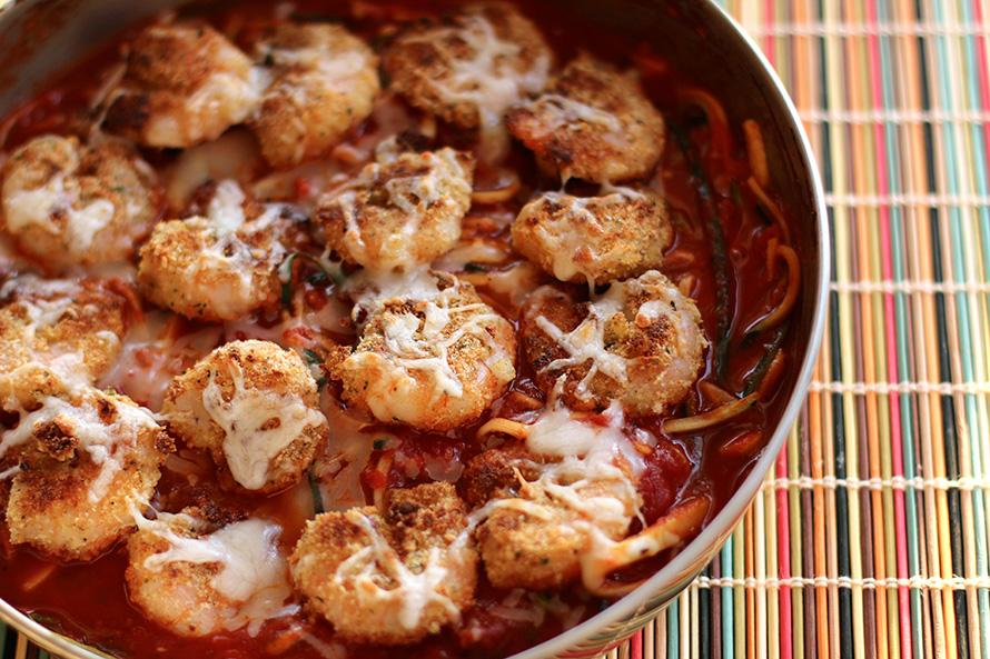 shrimp zoodles parmesan