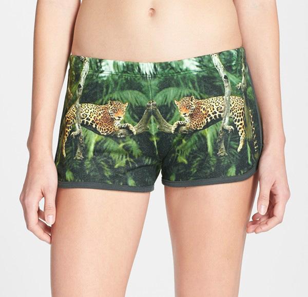 landscape print track shorts