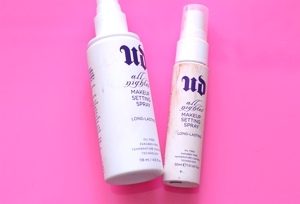 Urban Decay All Nighter Makeup Setting Spray, full size and travel size