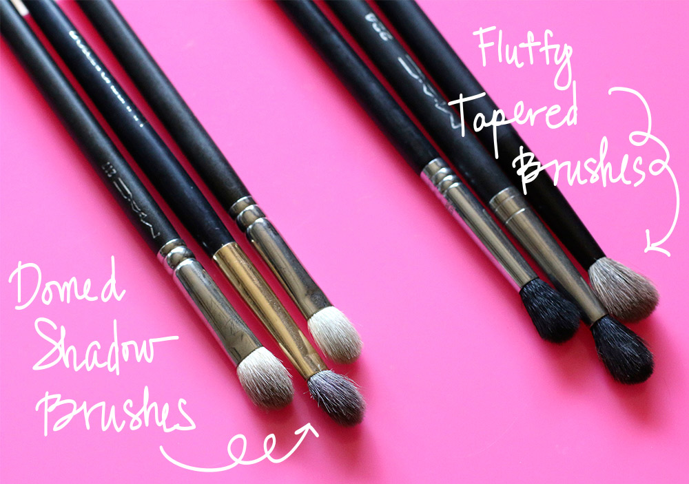 fluffy tapered brushes and domed shadow brushes