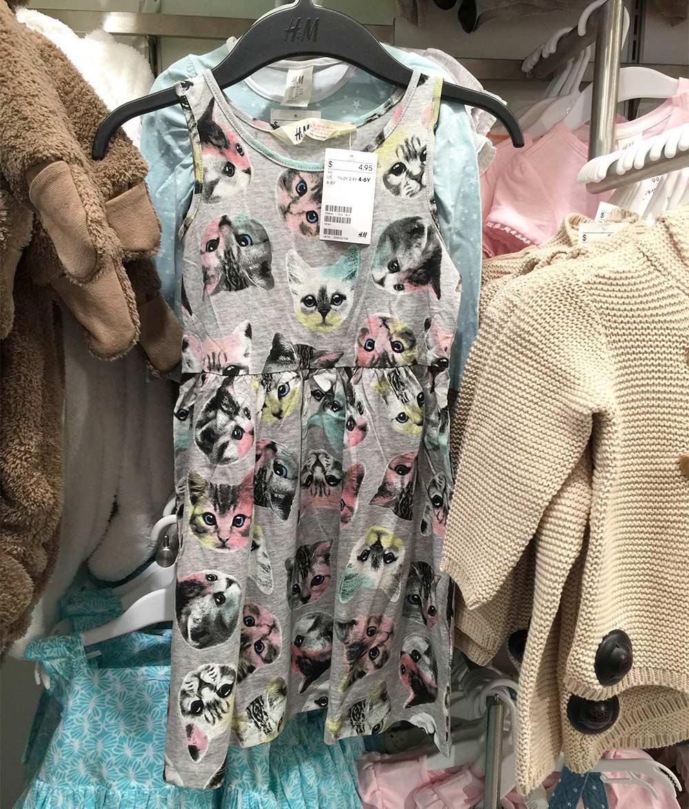 hm gray cat dress