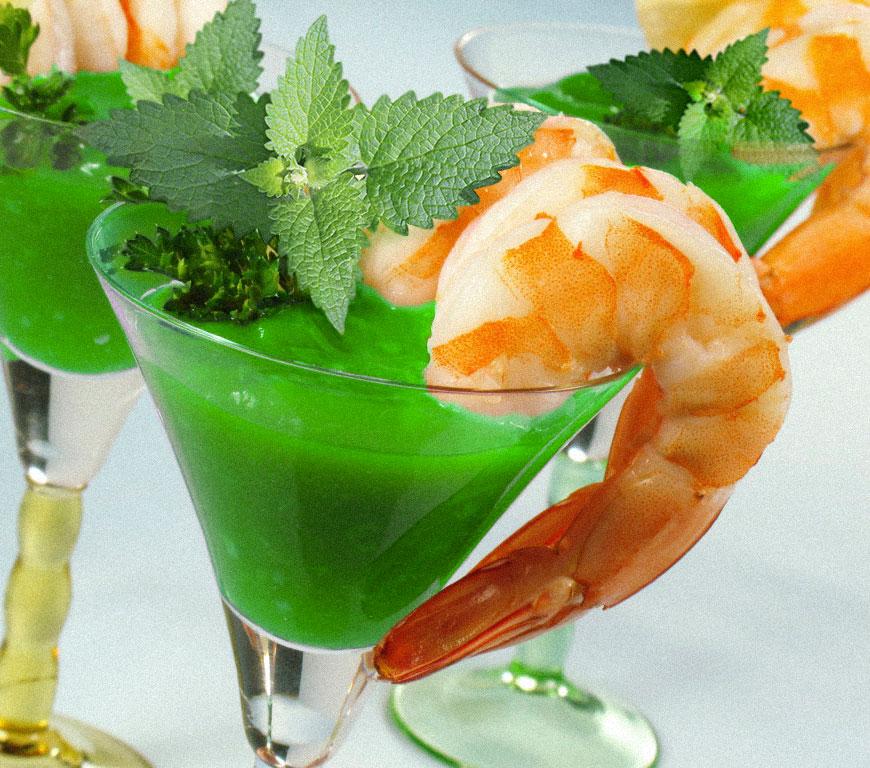 Shrimp catnip cocktails