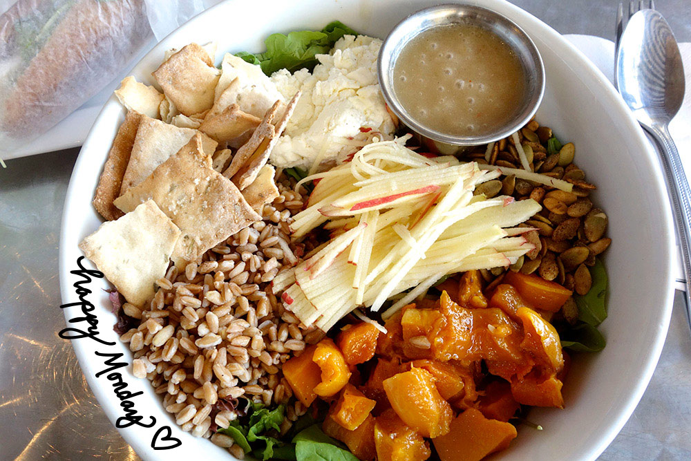 A delicious fall salad with butternut squash, apples, spicy pumpkin seeds and more from Rustic bakery in Novato