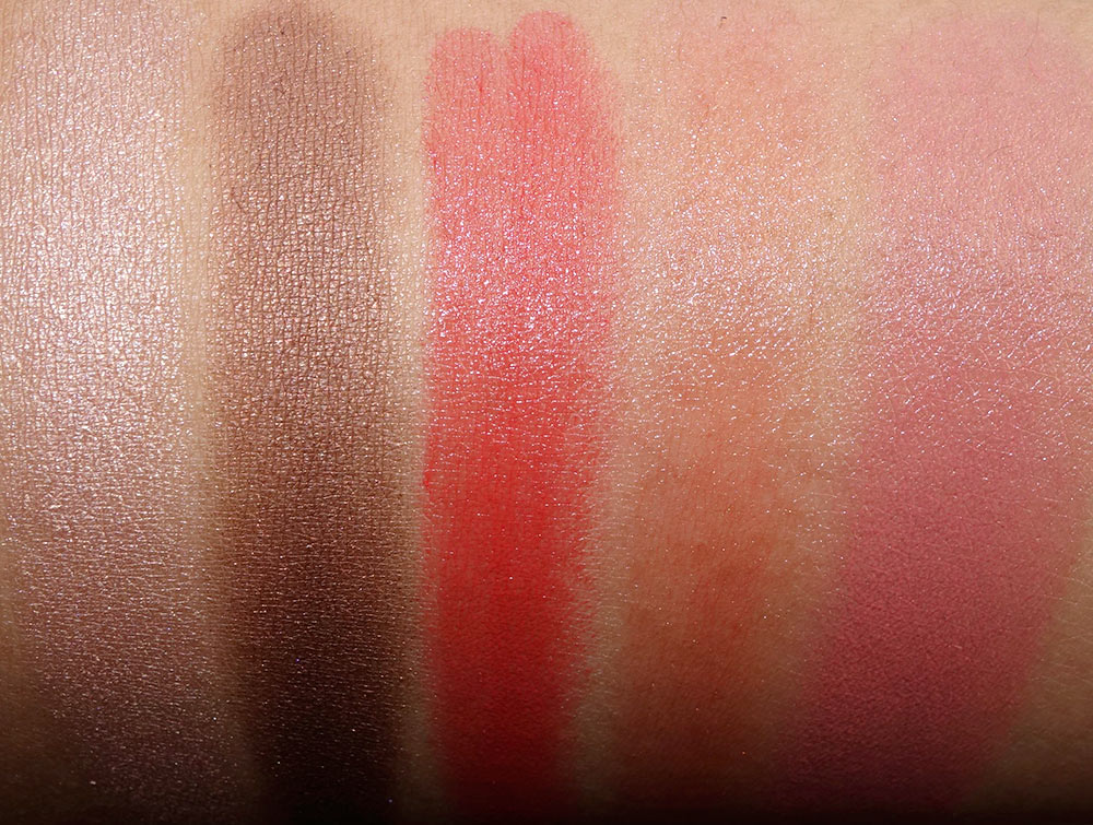 Swatches from the left: Chubby Stick Shadow Tint for Eyes in Bountiful Beige, Chubby Stick Shadow Tint for Eyes in Fuller Fudge, Chubby Stick Moisturizing Lip Color Balm in Heftiest Hibiscus, Chubby Stick Moisturizing Lip Color Balm in Oversized Orange and Chubby Stick Cheek Colour Balm in Amp'd Up Apple