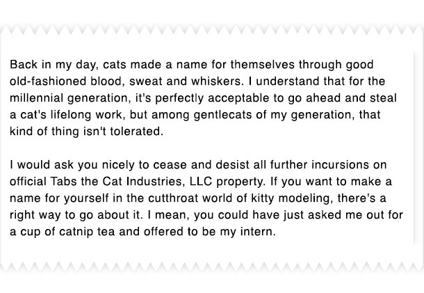 Professional cat correspondence