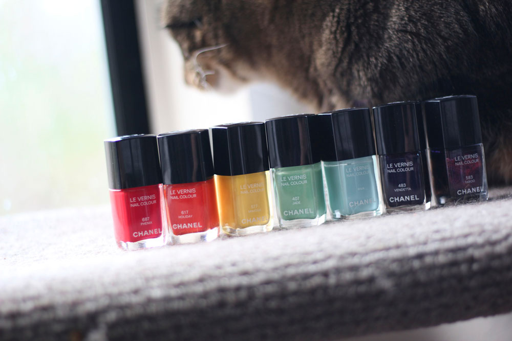 Chanel Le Vernis Nail Colours from the left in Phenix, Holiday, Mimosa, Jade, Riva, Vendetta and Taboo