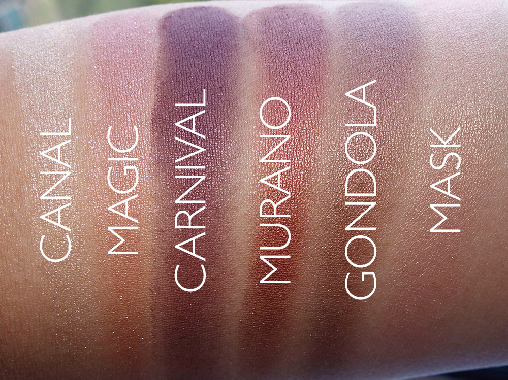 cargo venice eye shadow palette swatches