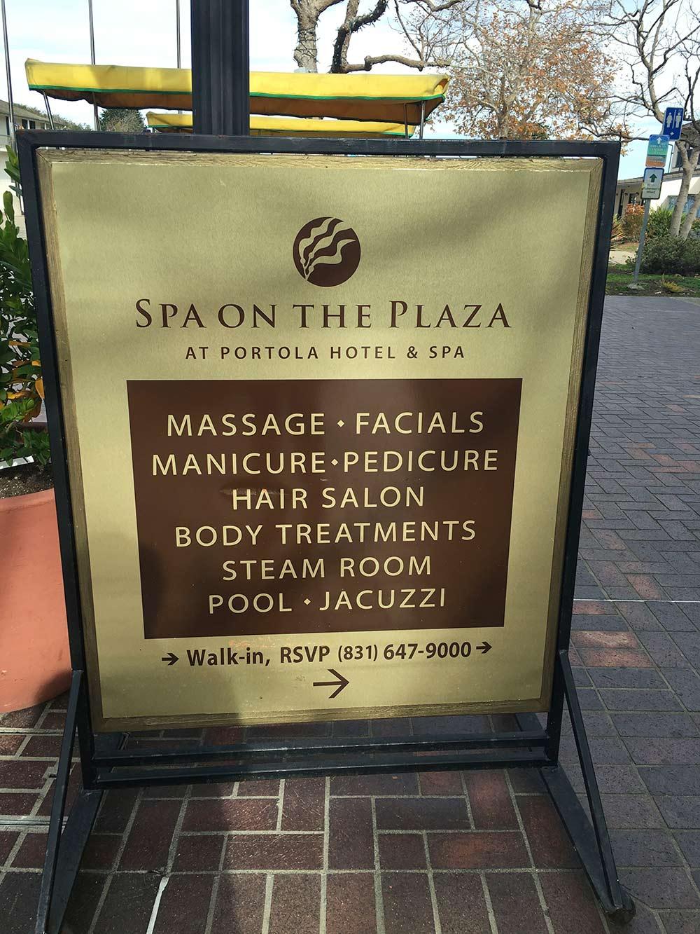spa on the plaza portola hotel spa sign
