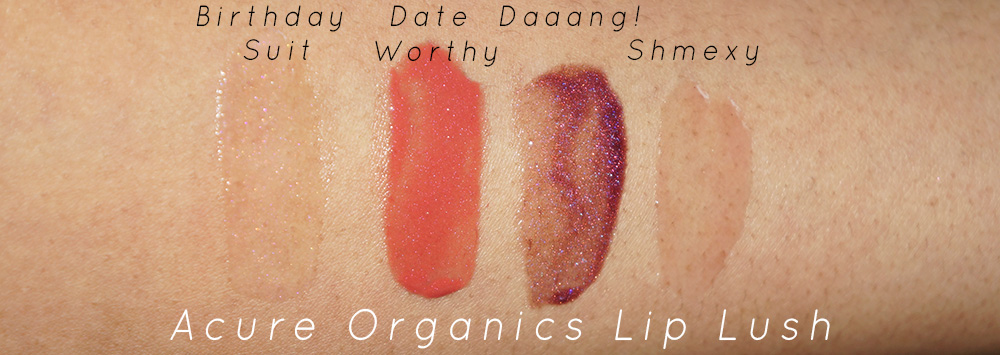 "acure lip lush swatches"" width="