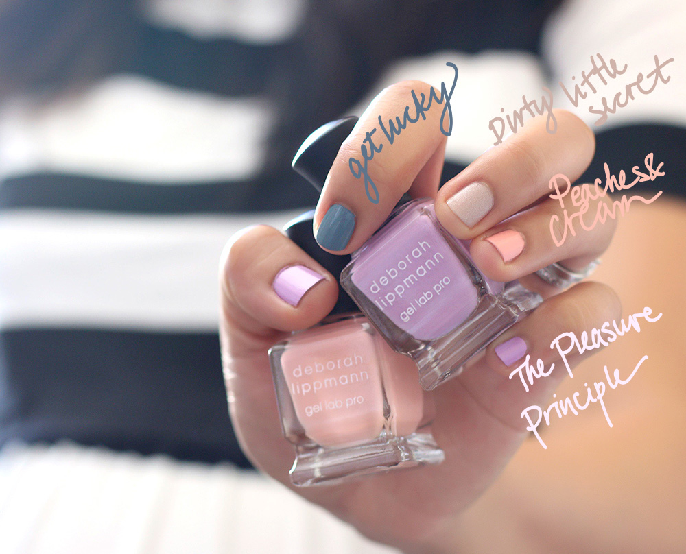 Clockwise from the blue nail: Get Lucky, Dirty Little Secret, Peaches & Cream and The Pleasure Principle