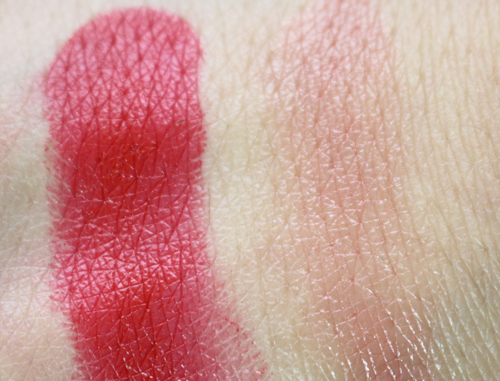 "Swatches of ""The Lipstick"" in Devil 620 and Honey 130"