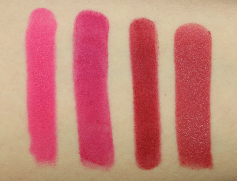 Swatches NARS Pure Matte Lipstick Carthage Maybelline Superstay 14H Fuchsia Forever Tarte Matte Lip Tint Fiery Estée Lauder Pure Color Envy Lipstick Rebellious Rose