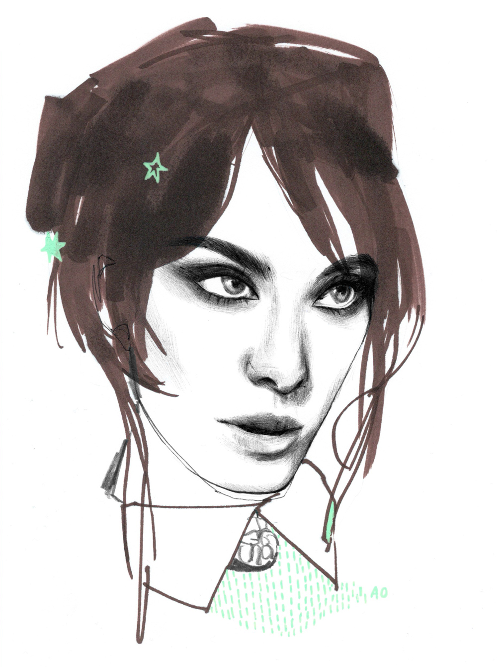 alexa chung illustration anna oh ao beauty