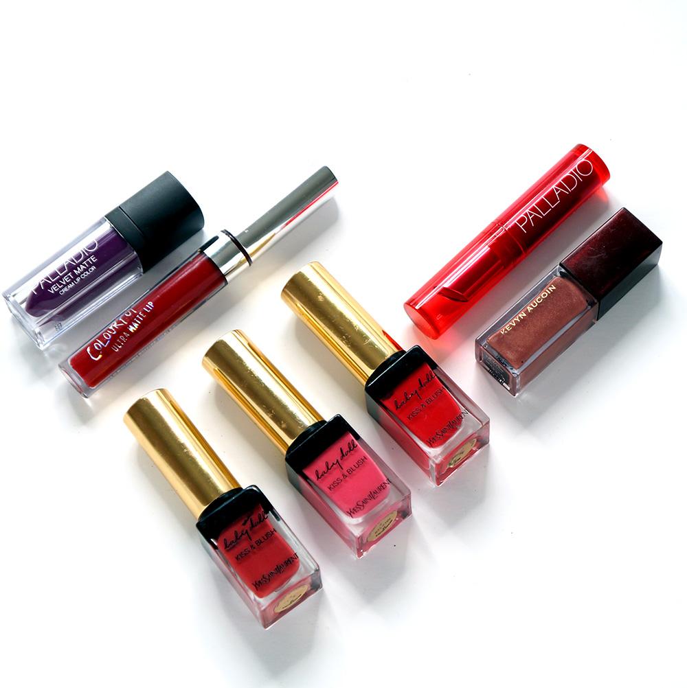 makeup bag essentials - lip products