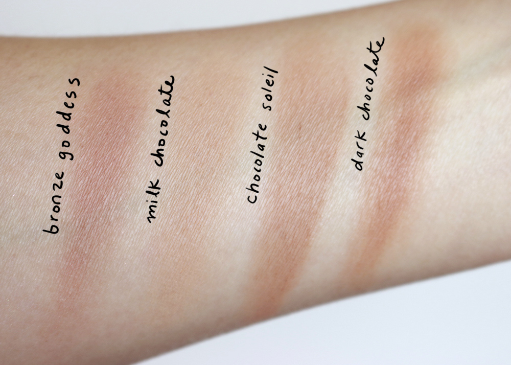 Swatches Too Faced Chocolate Bronzer Estee Lauder Bronzer Goddess