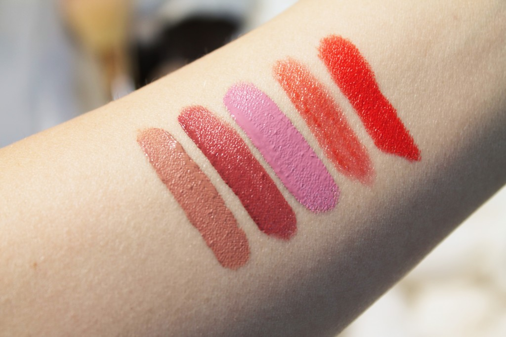 From left to right: NYX Lingerie Liquid Lipstick in Lace Detail, NYX Soft Matte Lip Cream in Cannes, OCC Lip Tar in Digitalis, Revlon Colorstay Ultimate Suede Lipstick in Cruise Collection, NYX Matte Lipstick in Indie Flick
