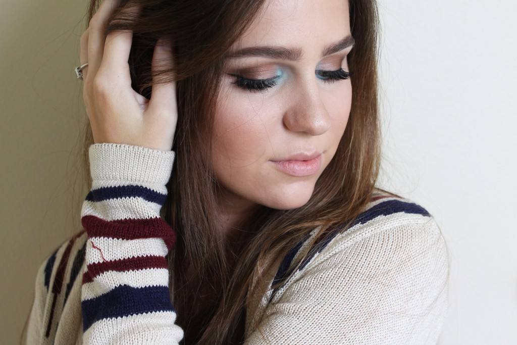 Music festival inspired makeup with a pop of blue