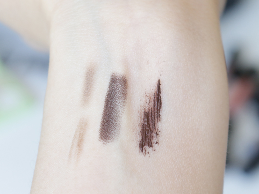 Swatches (L-R) BrowFood Eco Precision 2-Tone Brow Pencil in Brunette, Covergirl Liquiline Blast in Brown Blaze 410, Too Faced They're Real Mascara Brown