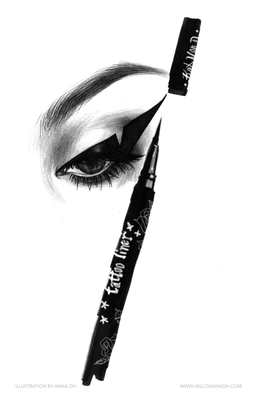 beauty illustration kat von d anna oh drawing