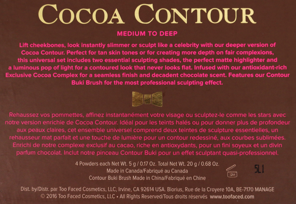 too faced cocoa contour ingredients