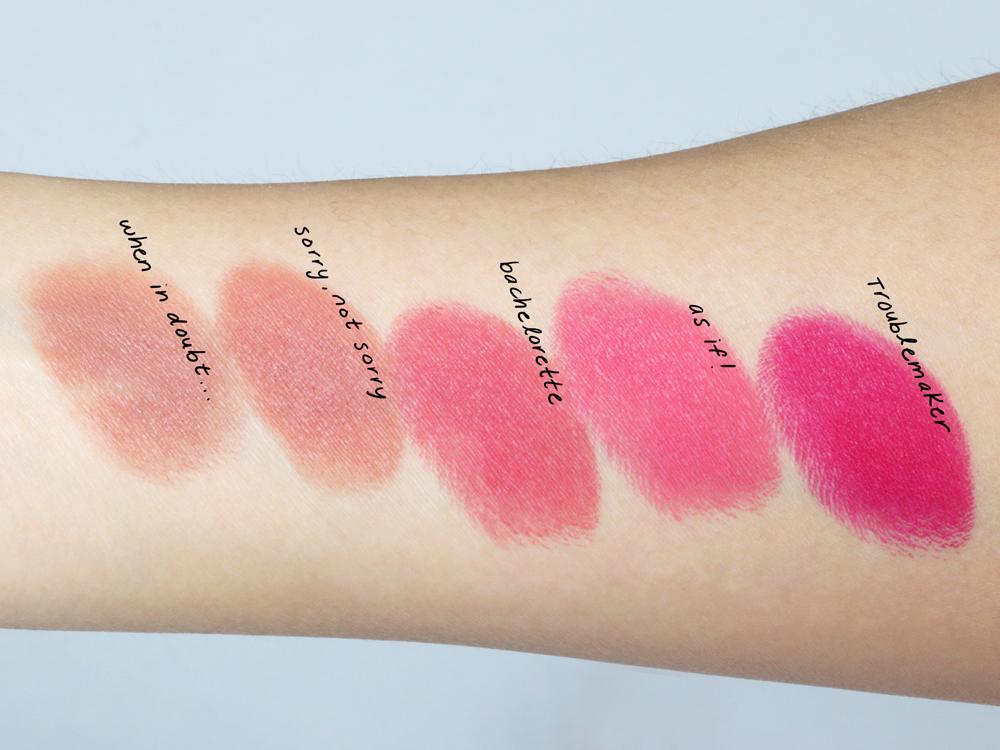 too faced la matte lipsticks swatches