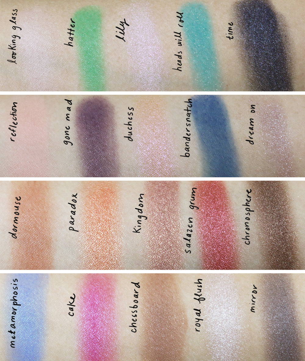 urban decay alice through the looking glass swatches