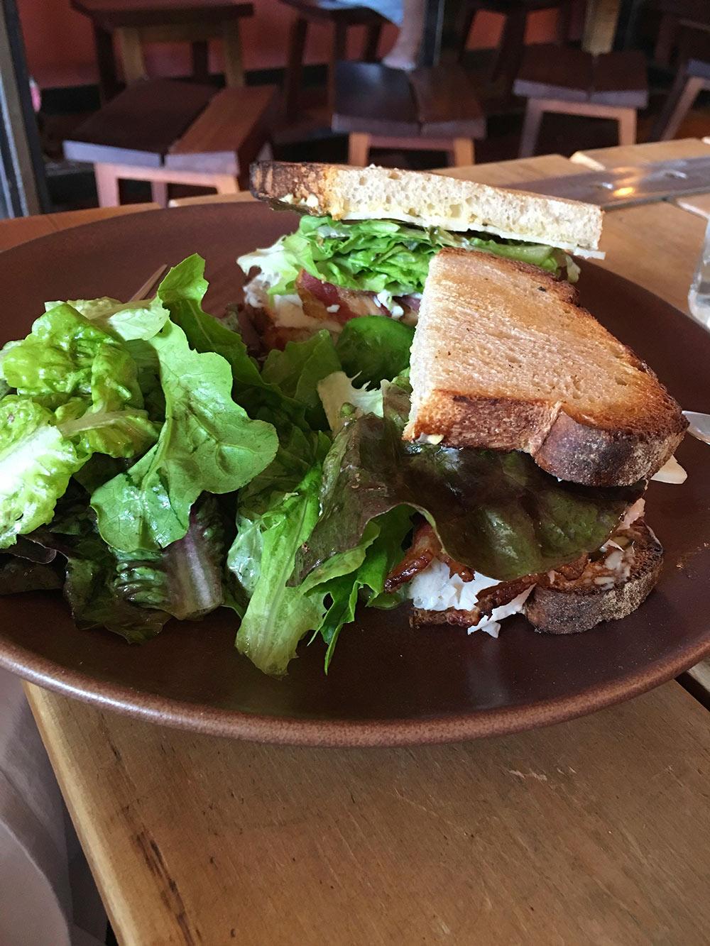 El Hub's dish, a turkey bacon sandwich