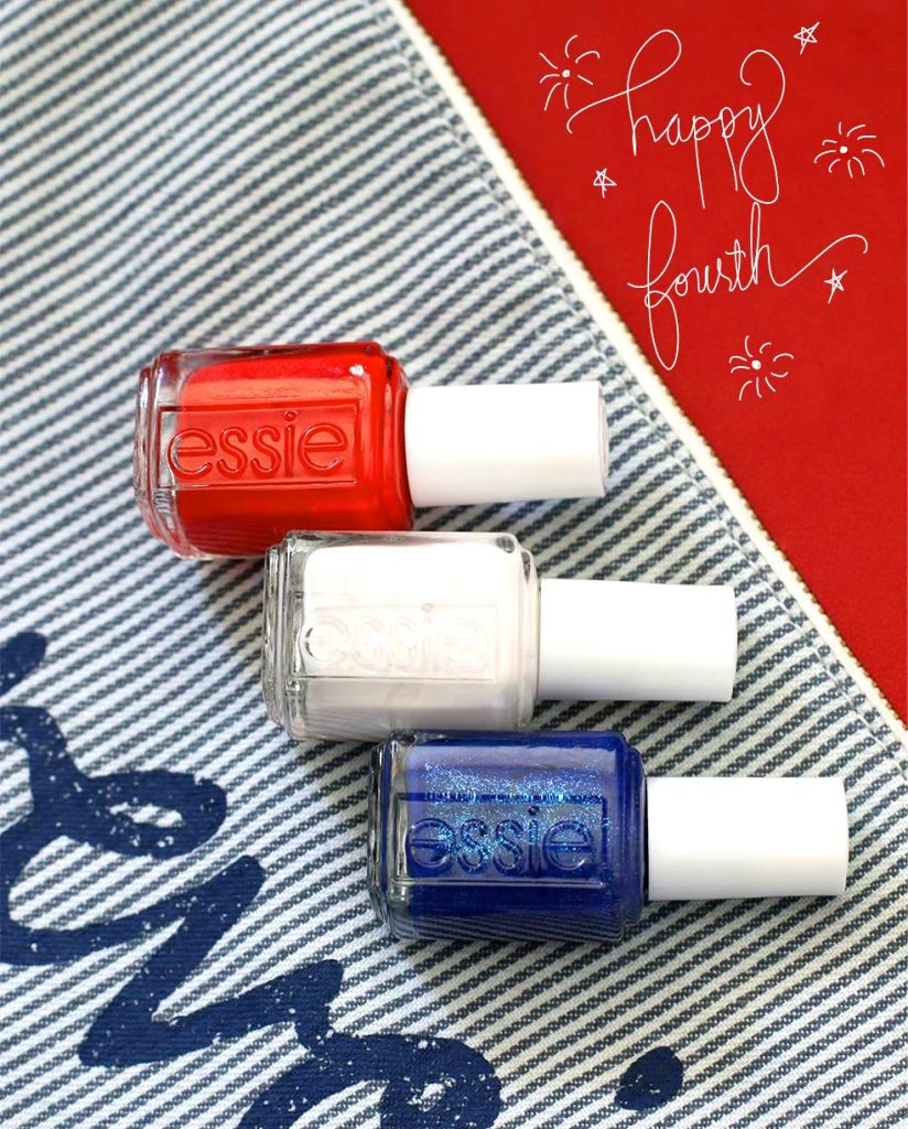 Happy fourth! Shades from top to bottom by Essie: Hiking Heels, Coconut Cove and Loot the Booty