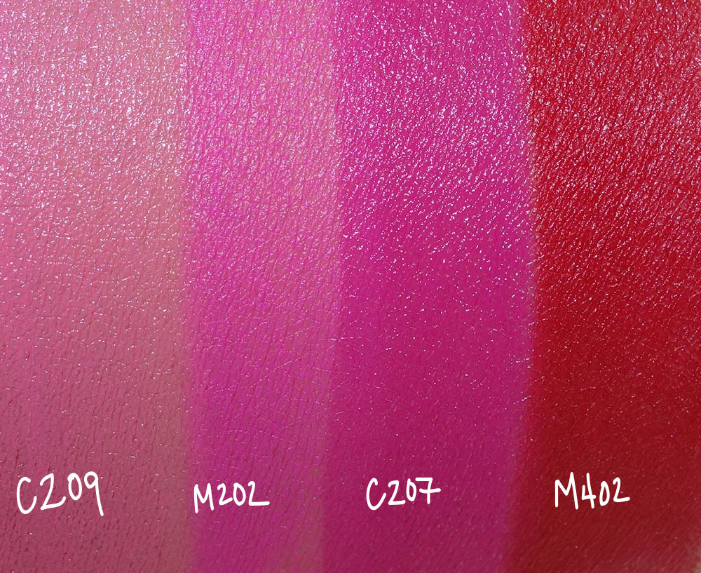 make up for ever artist rouge lipstick swatches