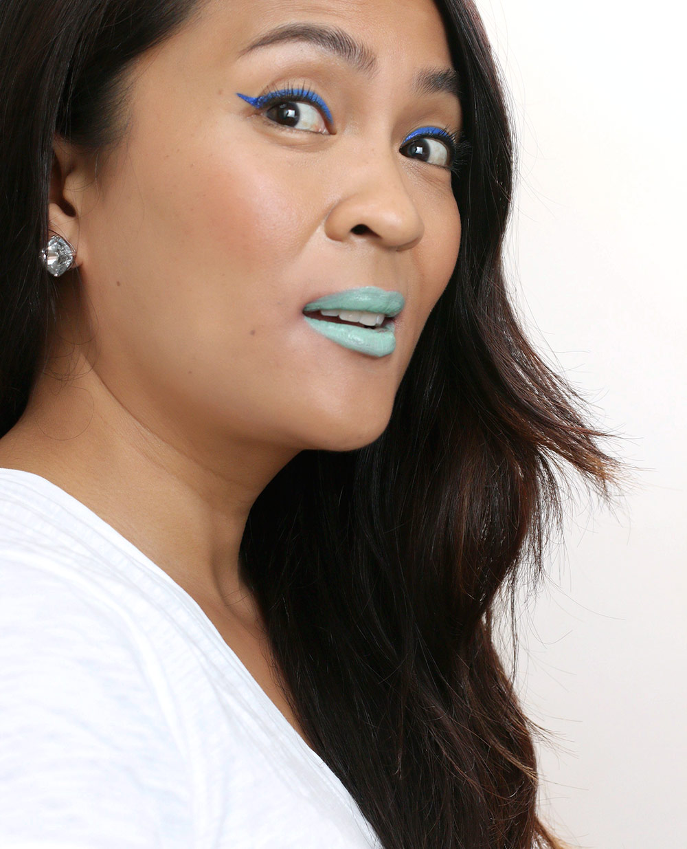 Feeling slightly crazy with a side of cray in this mint green lipstick by Make Up For Ever