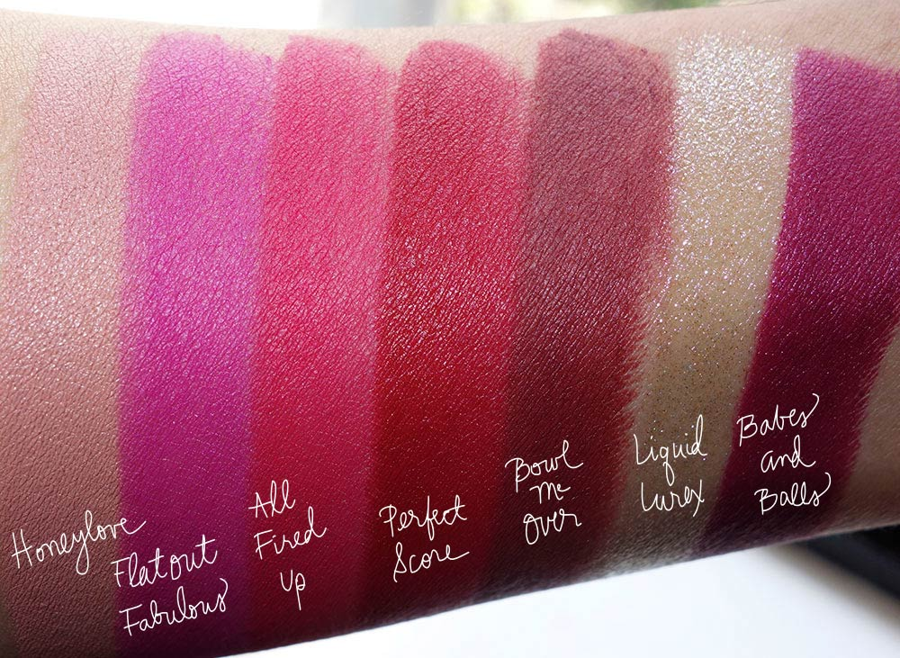 mac its a strike swatches-lipsticks